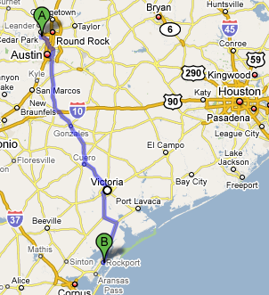 map of Austin to Rockport route